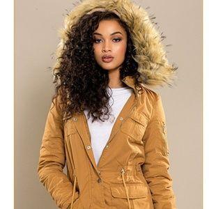 Jackets & Blazers - NWT Camel colored oversized faux fur hood jacket!